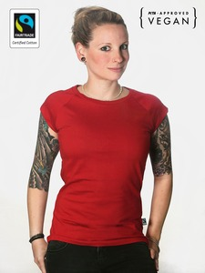 Fairtrademerch Ladies' Organic Raglan Tee (red) - Fairtrademerch