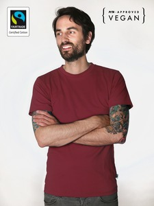 Fairtrademerch Men's Organic Tee (burgundy) - Fairtrademerch