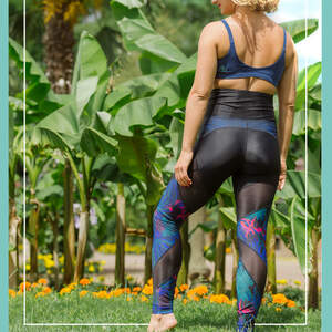 Energy Legging mit Netzstoff & Print - nice to meet me