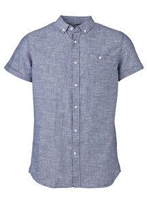 Cotton/Linen Shirt Short Sleeves Dark Blue - KnowledgeCotton Apparel