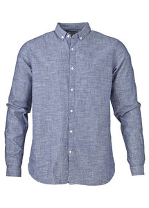 Cotton/Linen Shirt Estate Blue - KnowledgeCotton Apparel