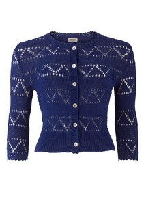 Kirstie Lace Cardigan in Blue - People Tree