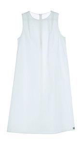 Knielanges  A-Linienkleid aus Bio-Popeline weiß - LUXAA