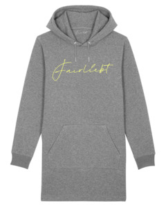 Hoodiekleid aus reiner Bio-Baumwolle, grau, Fairliebt Logo - Fairliebt