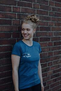 Frauen T-Shirt mit Wohnwagen aus Biobaumwolle GOTS - Real Teal ILI01 - ilovemixtapes