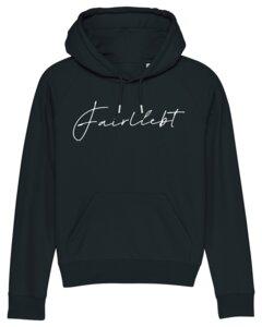 Hoodie aus reiner Bio-Baumwolle, schwarz, Fairliebt Logo - Fairliebt
