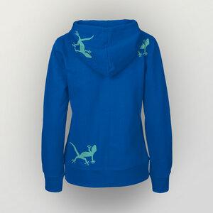 """""""Geckos"""" Frauen Zip-HOODY aus reiner Biobaumwolle (kbA) - HANDGEDRUCKT"""