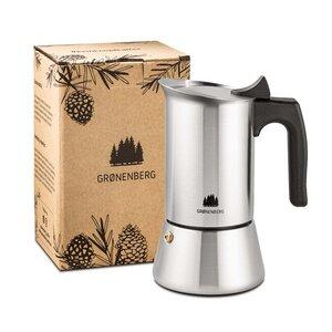 Edelstahl Espressokocher 1 - 2 Tassen (100 ml) | mit Ersatz Dichtung - GROENENBERG