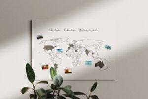 Weltkarte live.love.travel. #1- nachhaltig & handemade in Germany- Reiseweltkarte zum ausmalen/pinnen, travelmap- Keilrahmen, Leinwandposter - meine-weltkarte