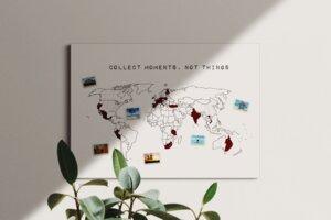 Weltkarte collect moments not things #1- nachhaltig & handemade in Germany- Reiseweltkarte zum ausmalen/pinnen, travelmap- Keilrahmen, Leinwandposter - meine-weltkarte