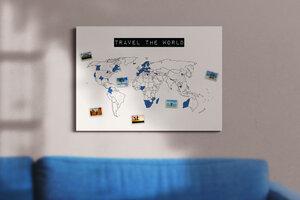 Weltkarte travel the world #1- nachhaltig & handemade in Germany- Reiseweltkarte zum ausmalen/pinnen, travelmap- Keilrahmen, Leinwandposter - meine-weltkarte