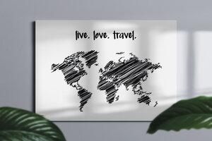 Stylische Weltkarte live.love.travel #1- nachhaltig & handemade in Germany - Wanddekoration Weltkarte - Keilrahmen, Leinwandposter - meine-weltkarte