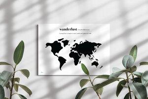 """Stylische Weltkarte """"Wanderlust"""" #1- nachhaltig & handemade in Germany - Wanddekoration Weltkarte - Keilrahmen, Leinwandposter - meine-weltkarte"""