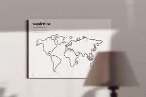 """Stylische Weltkarte """"Wanderlust"""" #2- nachhaltig & handemade in Germany - Wanddekoration Weltkarte - Keilrahmen, Leinwandposter - meine-weltkarte"""