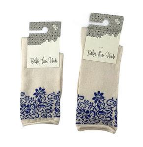 Socken mit Blumenmuster an der Kante - Bulus organic Textilien GmbH
