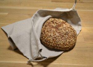hochwertiger Brotbeutel aus Leinen in naturbraun aus Österreich - Fazinettel