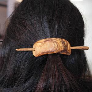Haarspange aus Holz | Holzring mit Haarnadel - Mitienda Shop