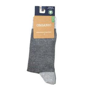 Minikaro-Socken, grau/ blau - Bulus organic Textilien GmbH
