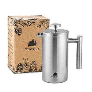 Edelstahl French Press 0,35 - 1 Liter | Doppelwandiger Kaffeebereiter mit Thermo-Effekt | Inkl. Ersatzfilter - GROENENBERG