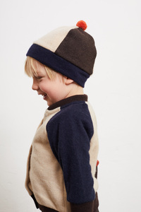 KAVI Kinderstrickjacke/Colorblock Cardigan (recycelte Wolle) - JIMMI WOW