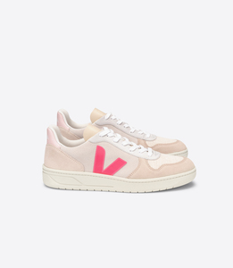 Sneaker Damen - V-10 Suede Multico - Natural Rose-Fluo - Veja