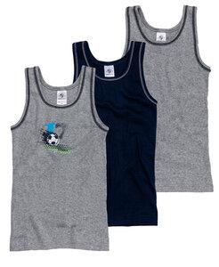 Jungen Unterhemd 3er Pack- Feinripp mit Motivdruck - Haasis Bodywear