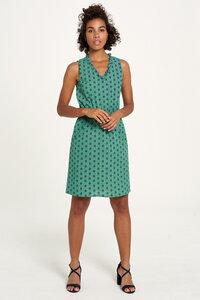 Baumwollkleid mit Print in Grün und Braun - TRANQUILLO