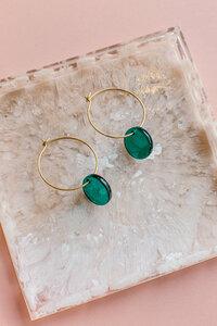 "Creole ""LAGUNE"" aus Messing in blau und grün - ALMA -Faire Streetwear & Schmuck-"