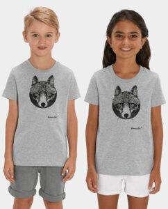 Unisex Kinder T-Shirt Fuchs grau - Kommabei