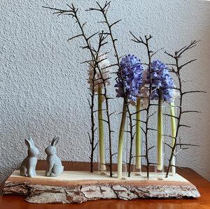 Kieferholzstück mit Rinde inkl. Reagenzglas-Vasen und Ästen - b.y.r.d.
