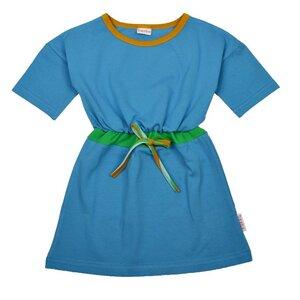 Baba Kidswear Mädchenklei blau grün mit Zugband Bio-Baumwolle - Baba Kidswear