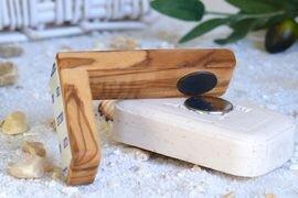 Magnetseifenhalter 11 cm inkl. Seifenplättchen aus Olivenholz - Olivenholz erleben