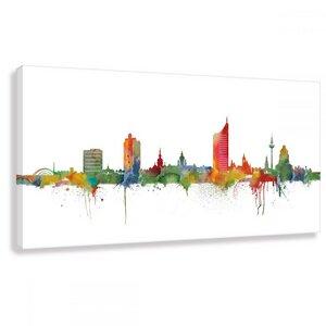 Skyline von Leipzig - Leinwand - Bilder - Kunst - Kunstbruder