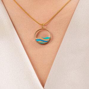 Ocean umweltfreundliche vergoldete Halskette aus recyceltem Holz - Paguro Upcycle