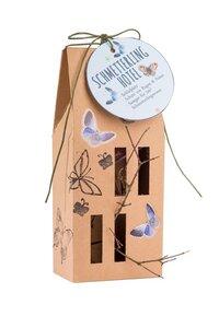 Schmetterlingshotel aus Pappe als Regenschutz - Wunderle