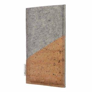 Handyhülle EVORA natur (diagonal) für Huawei P-Serie - 100% Wollfilz - hellgrau - Korktasche Filztasche - flat.design