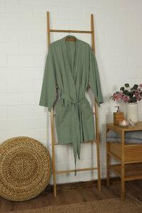 Damen Bademantel / Kimono 100% Bio-Baumwolle Knitterlook Made in Green Unisex - jilda-tex