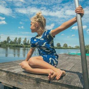 Baba Kidswear Mädchen Kleid Wale blau Bio-Baumwolle - Baba Kidswear