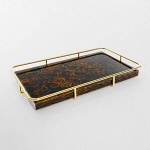 Deko Servier Tablett aus recycelten Glasflaschen mit goldenem Gestell - MAGNA Glaskeramik®