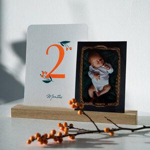 """Geschenkset zur Geburt """"Wild Flower"""" Meilensteinkarten + passende Bilderleiste aus Eiche + Glückwunschkarte + Box - december and june"""