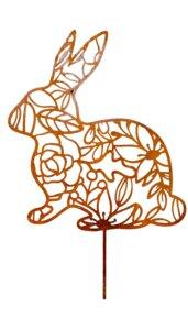 Großer Oster Hase mit Ornament Edelrost | Garten Deko Gartenstecker aus Metall | 35 cm - Pandas Garden