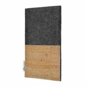 Handyhülle EVORA natur für Huawei P-Serie - 100% Wollfilz - dunkelgrau - Korktasche Filztasche - flat.design