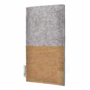 Handyhülle EVORA natur für Huawei P-Serie - 100% Wollfilz - hellgrau - Korktasche Filztasche - flat.design
