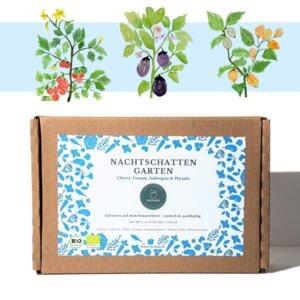 Nachtschatten DIY-Gartenbox (Cherry Tomaten, Auberginen & Physalis) - Grüneo