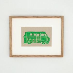 Bulli – Kunstdruck mit Echtholzrahmen - Ballenito