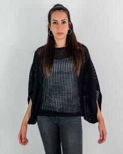 Durchbrochener, gestrickter Pullover LUZ PONCHO, 100% Bio-Baumwolle - MAGAN