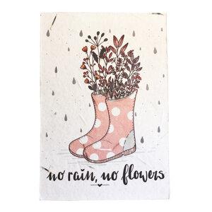 """Postkarte """"no rain, no flowers"""" mit Samen zum Anpflanzen - ingegerd Ökolifestyle"""