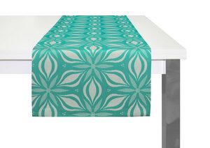 Tischläufer Retro Flore tolles Design 100 % Bio Baumwolle tolle Farben , bringt den Frühling ins Haus - Adam -Natürlich Wohnen