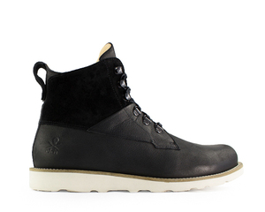 cedar boot / schwarzes leder / vibram sohle - ekn footwear