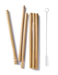 Bambus Strohhalm 6-Set mit Reinigungsbürste - Bambu